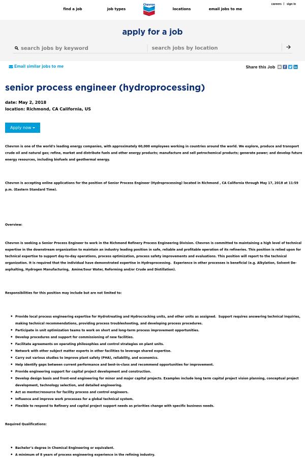 Senior Process Engineer (Hydroprocessing) job at Chevron in Richmond