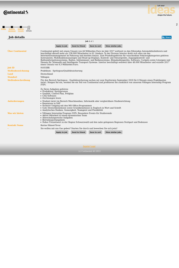 Praktikum - Spritzguss / Qualitätssicherung job at Continental AG in ...