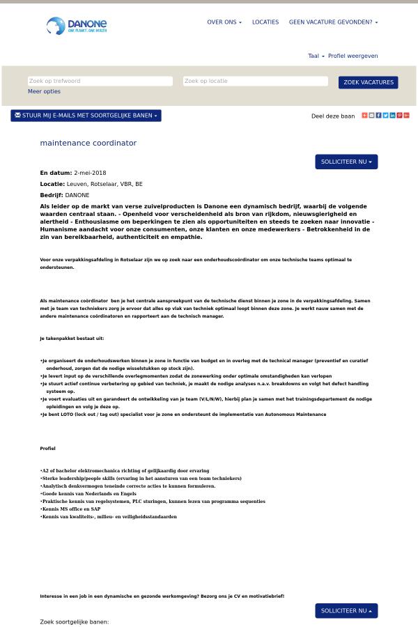 motivatiebrief coordinator Maintenance Coordinator job at Danone in Leuven, Belgium  motivatiebrief coordinator
