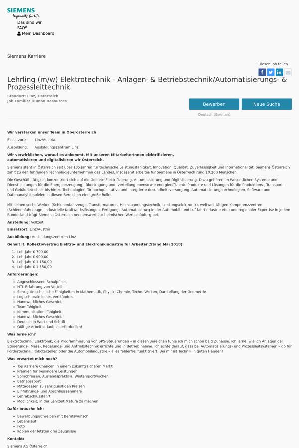 Lehrling (m/w) Elektrotechnik - Anlagen - & Betriebstechnik ...