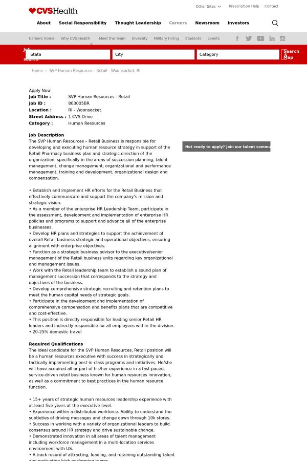 senior vice president human resources retail job at cvs health in
