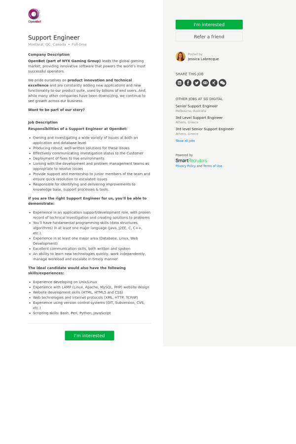 Support Engineer job at SG Digital in Montréal, Canada - 12380931 ...