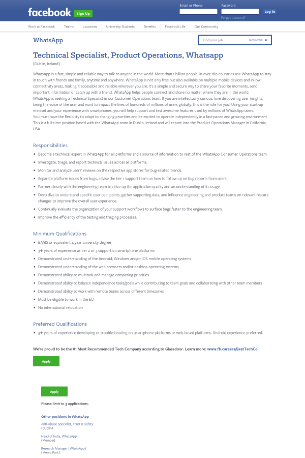 Technical Specialist Product Operations Whatsapp Job At Facebook