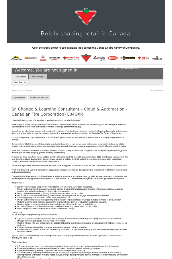 Senior Change Learning Consultant Cloud Automation Canadian