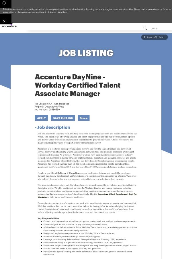 Accenture DayNine - Workday Certified Talent Associate Manager job