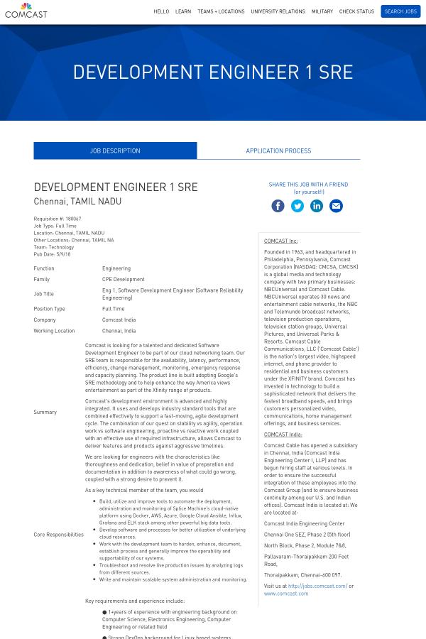 Development Engineer 1 SRE job at Comcast in Chennai, India ...