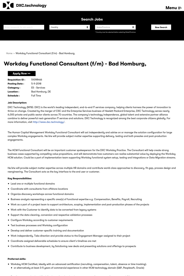 Workday Functional Consultant Fm Job At Dxc Technology In Bad