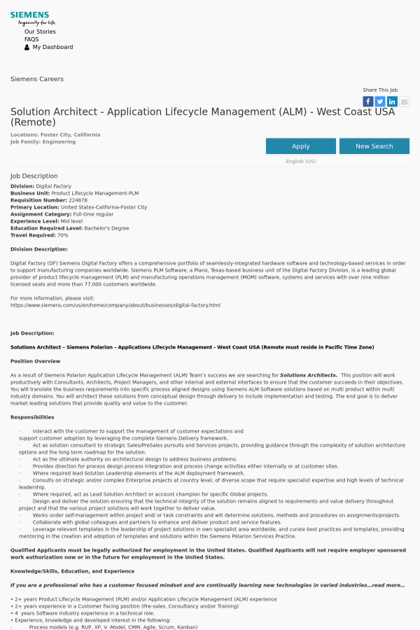 Solution Architect - Application Lifecycle Management (ALM