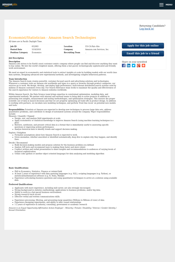 Economist / Statistician - Amazon Search Technologies job at Amazon