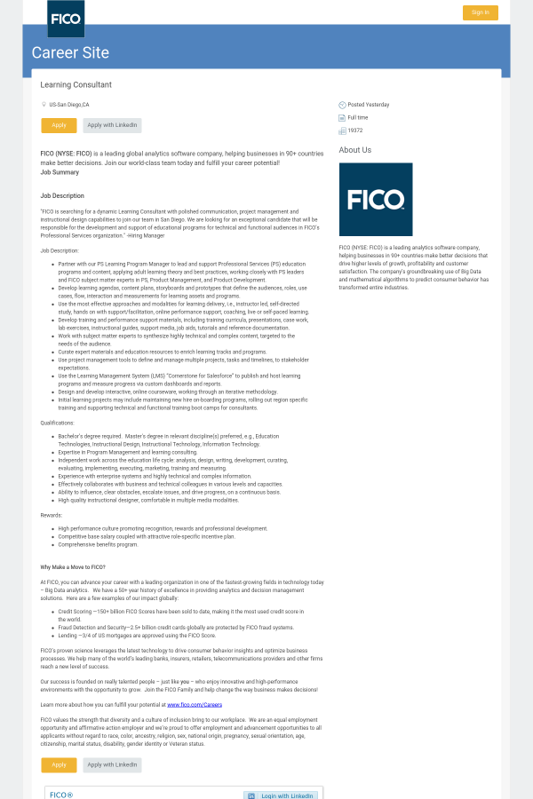Learning Consultant Job At Fico In San Diego Ca 12439740