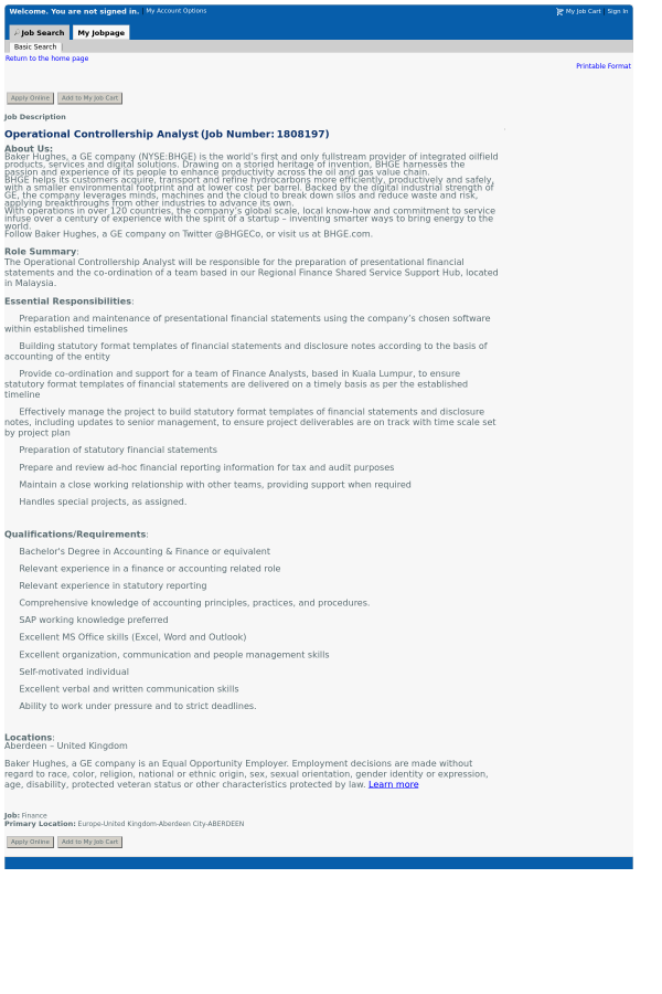 Operational Controllership Analyst job at Baker Hughes in Aberdeen ...