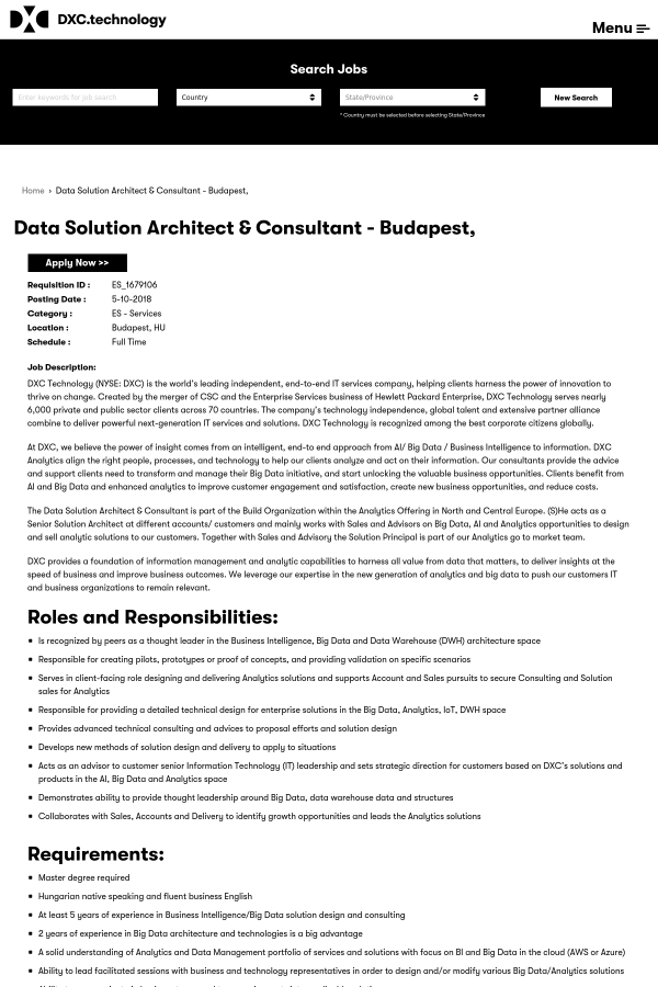 Data Solution Architect & Consultant job at DXC Technology in ...