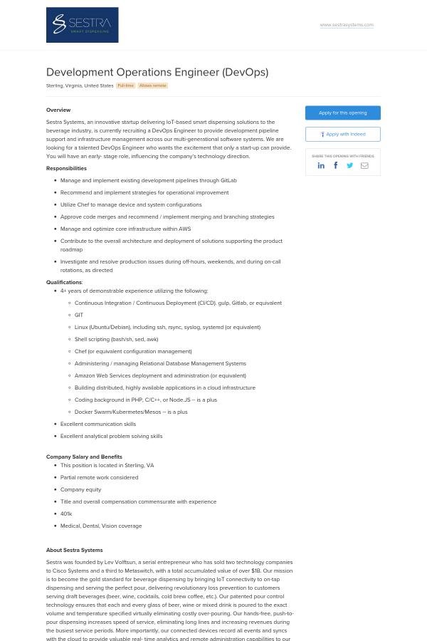 Development Operations Engineer (DevOps) job at Sestra