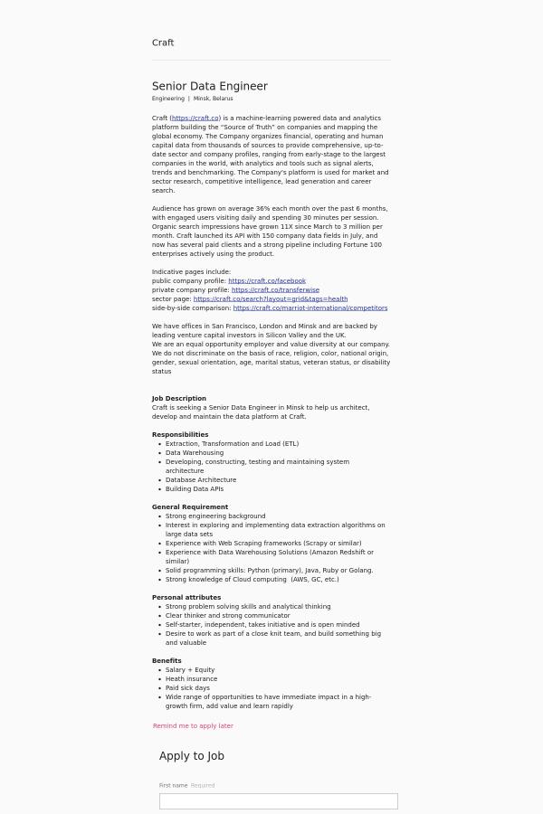 Senior Data Engineer job at Craft in Minsk, Belarus - 12472784 ...