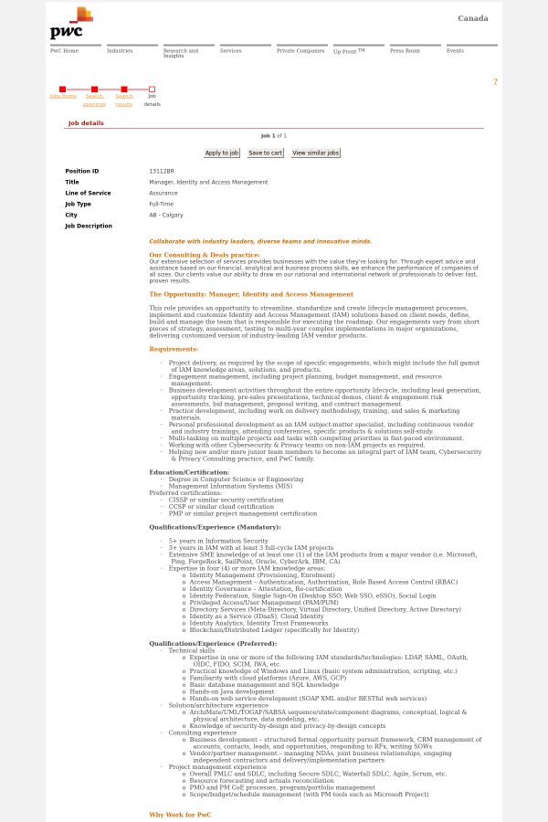 Manager Identity And Access Management Job At