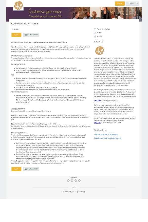 Tax Ociate Job Description | Experienced Tax Associate Job At Cliftonlarsonallen In Novato Ca