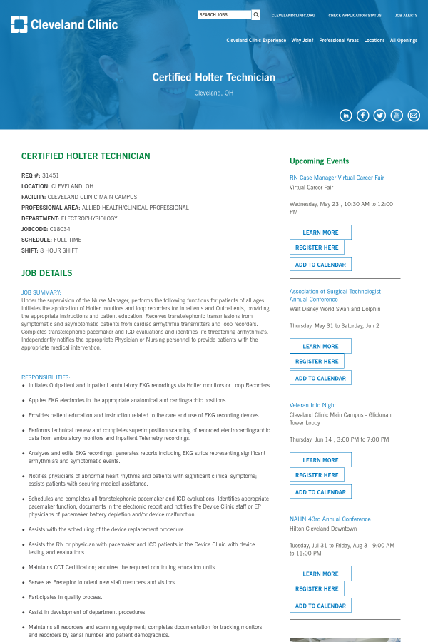 Certified Holter Technician Job At Cleveland Clinic In Cleveland Oh