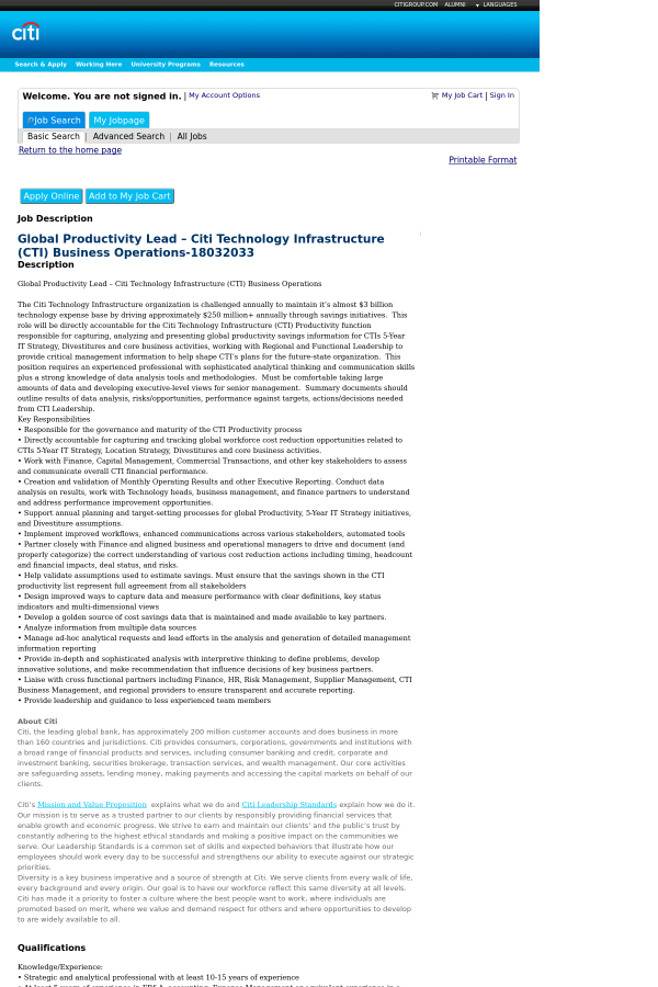 Global Productivity Lead Citi Technology Infrastructure Business