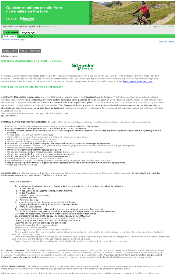 Systems Application Engineer job at Schneider Electric in Secaucus ...