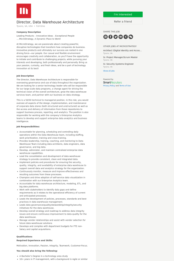 Director, Data Warehouse Architecture job at Microstrategy in ...