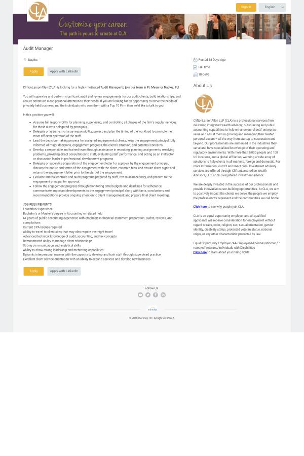 Audit Manager job at CliftonLarsonAllen in Naples, FL - 12579353 ...
