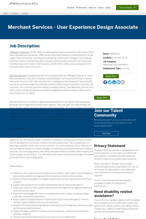 Merchant Services - User Experience Design Associate job at