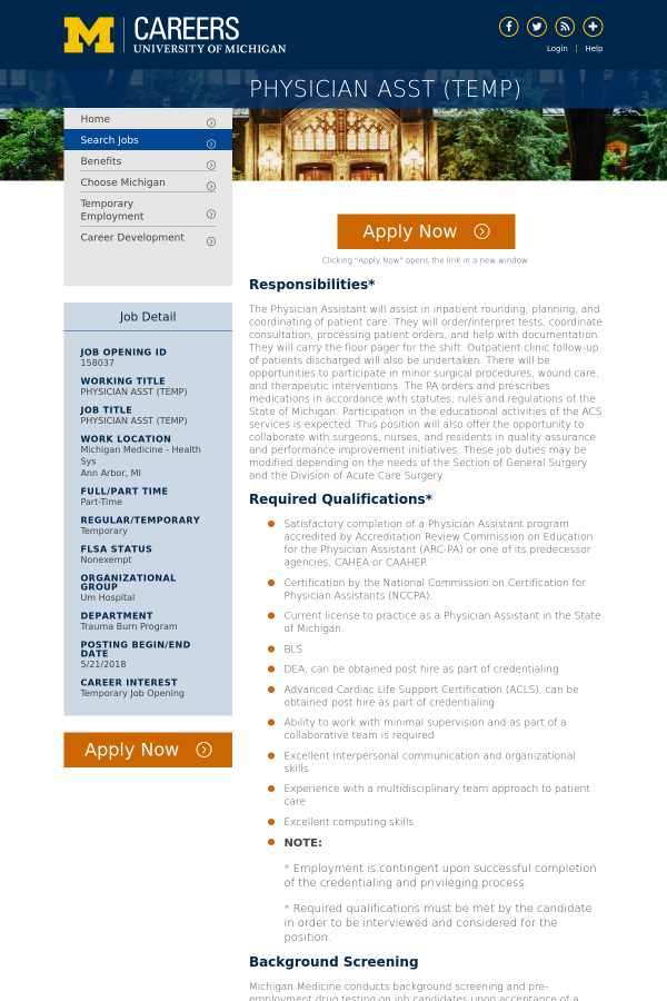 Physician Assistant Temp Job At University Of Michigan In Ann