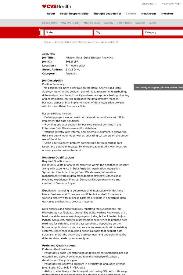 advisor retail data strategy analytics job at cvs health in