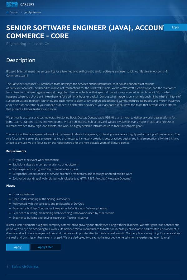Senior Software Engineer (Java), Accounts & Commerce - Core job at ...