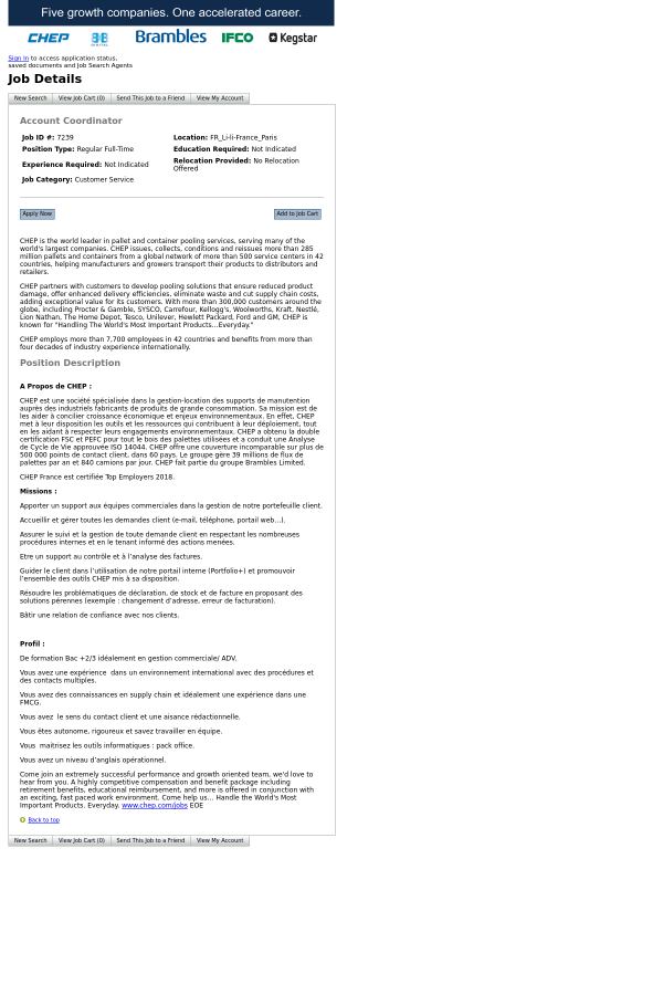 Account Coordinator Job At Chep In Paris France 12628014