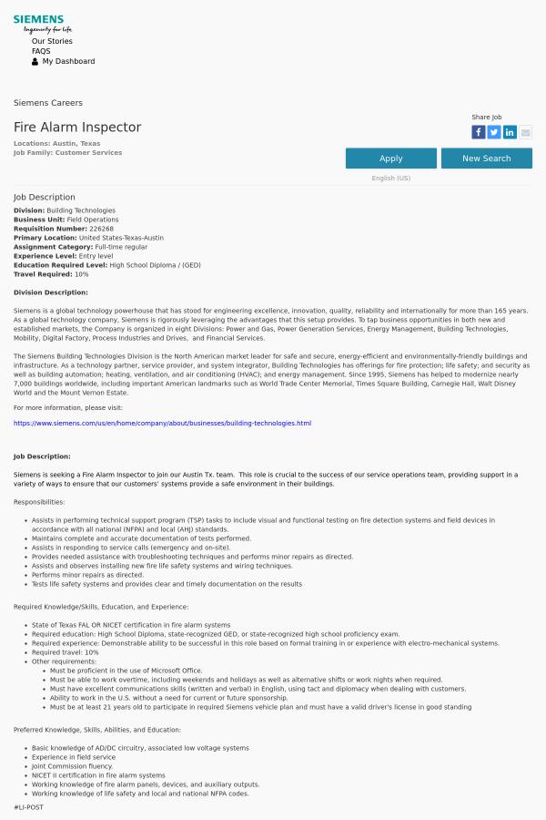 Fire Alarm Inspector Job At Siemens In Austin Tx 12636643