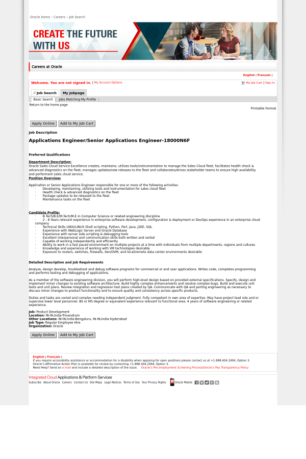 Applications Engineer / Senior Applications Engineer job at Oracle ...