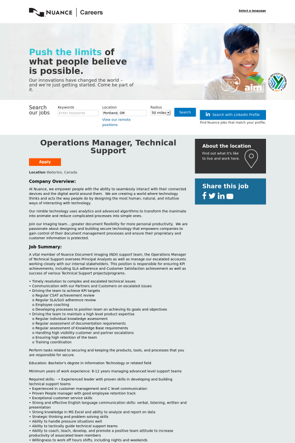 Operations Manager, Technical Support job at Nuance Communications ...