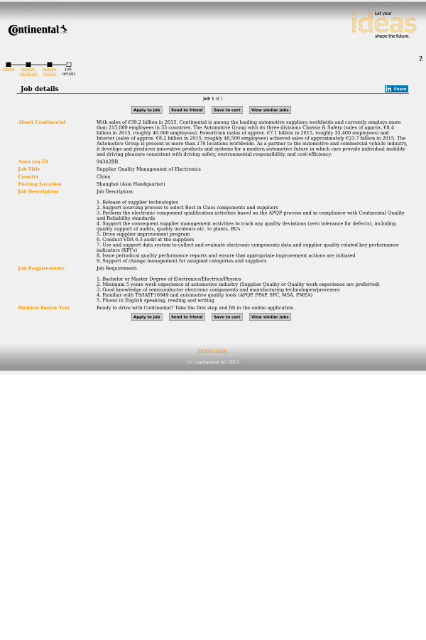 Supplier Quality Management of Electronics job at Continental AG in