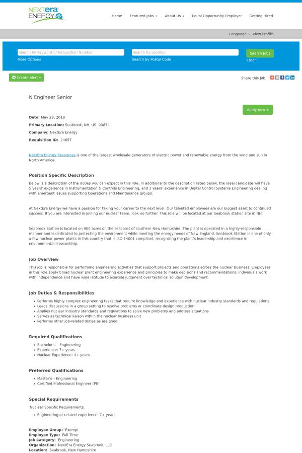 N Engineer Senior job at NextEra Energy in Seabrook, NH - 12726834 ...