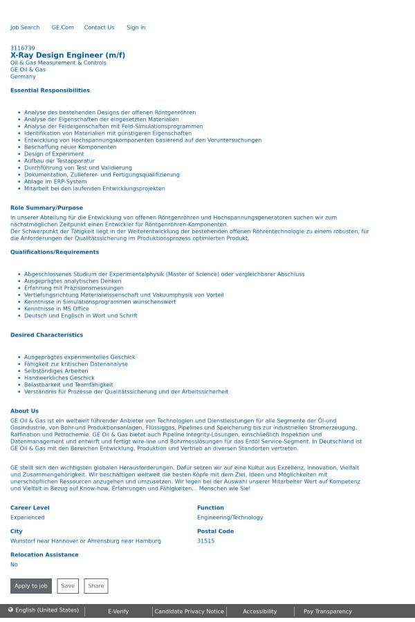 X-Ray Design Engineer job at General Electric in Hamburg, Germany ...