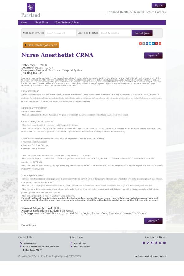 Nurse Anesthetist Crna Job At Parkland Health Hospital System In