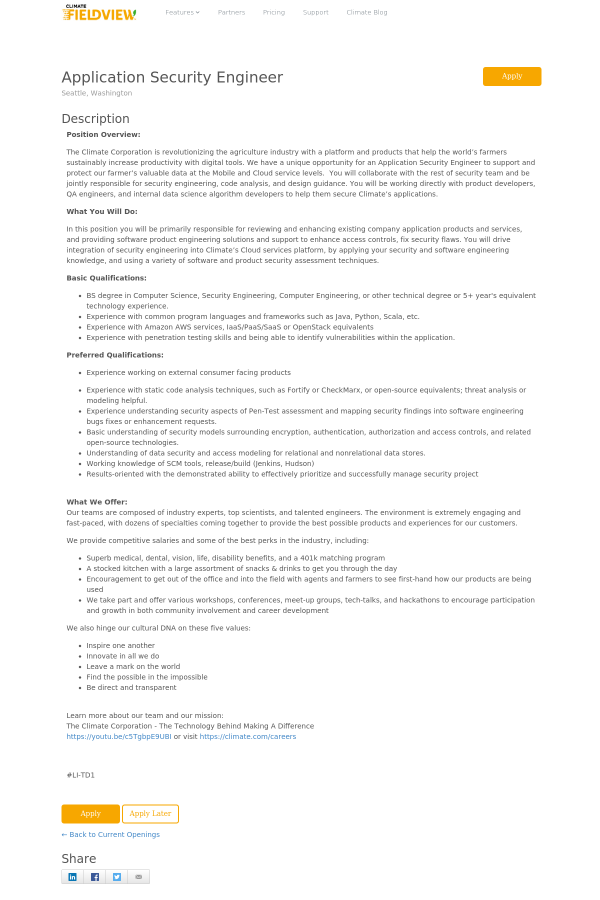 Application Security Engineer job at The Climate Corporation in ...