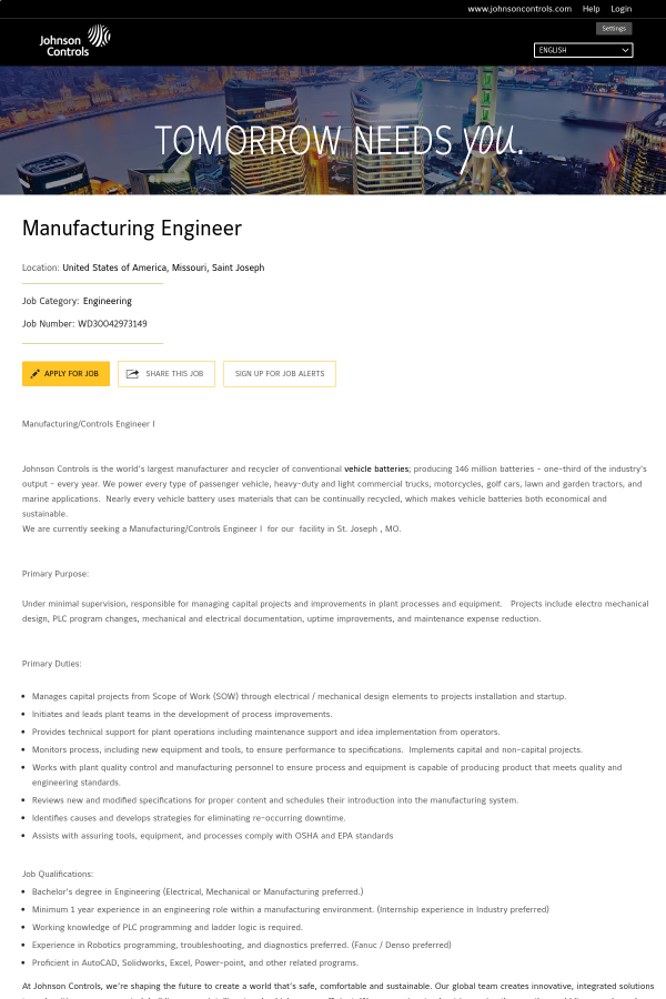 Manufacturing Engineer job at Johnson Controls in Saint Joseph, MO ...
