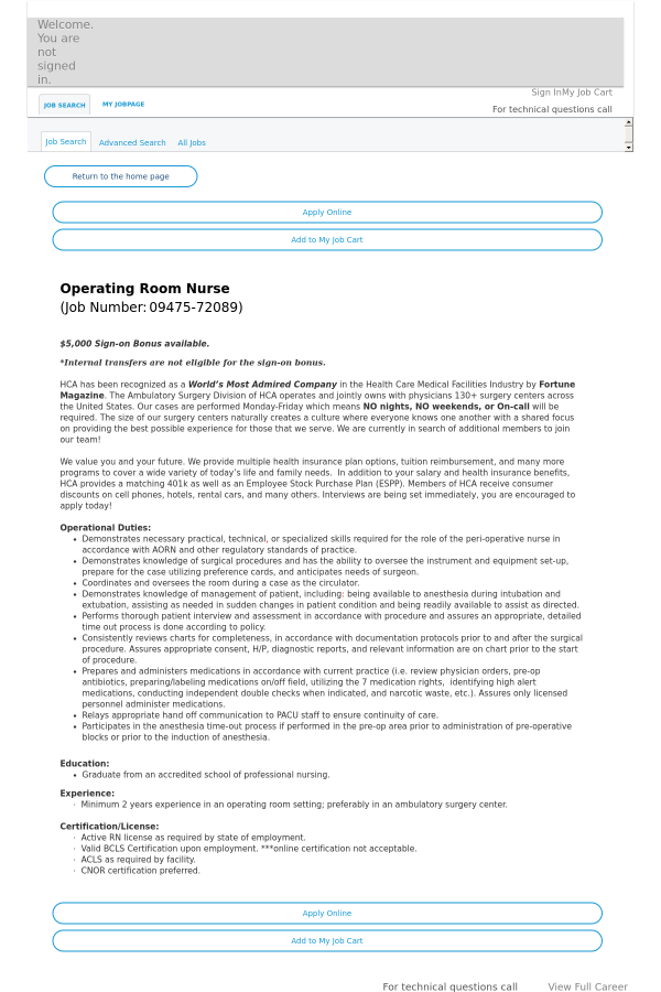 Operating Room Nurse Job At Hca Holdings Inc In Lone Tree Co