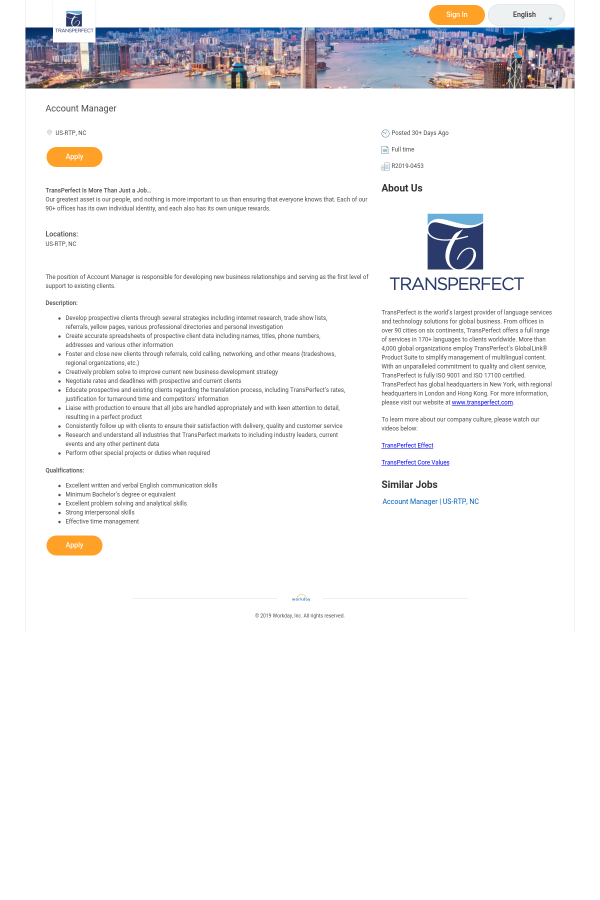 Account Manager job at TransPerfect in Durham, NC - 12764009