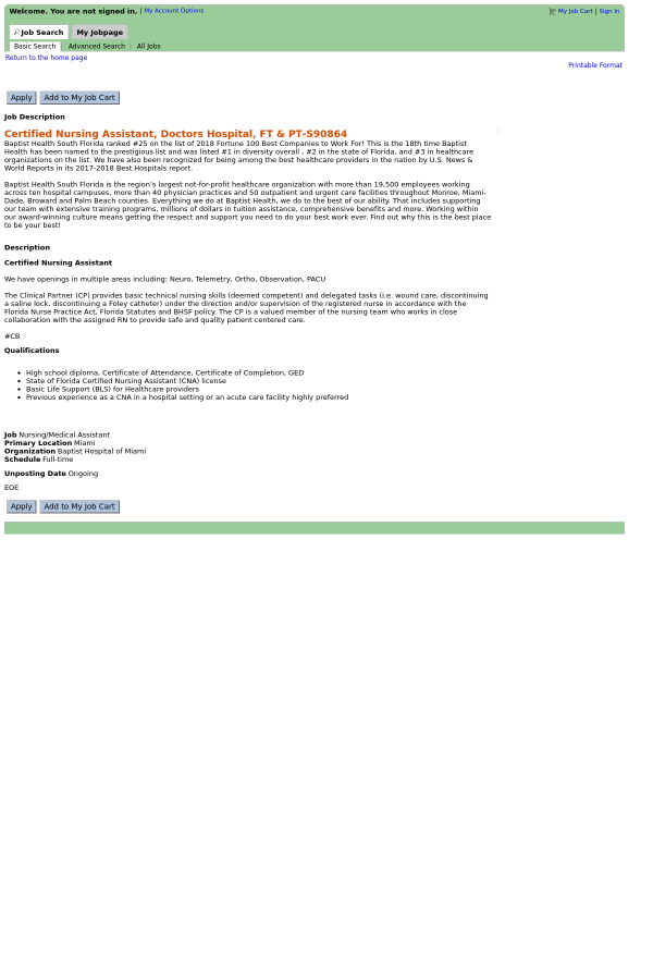 Certified Nursing Assistant Doctors Hospital Job At Baptist Health