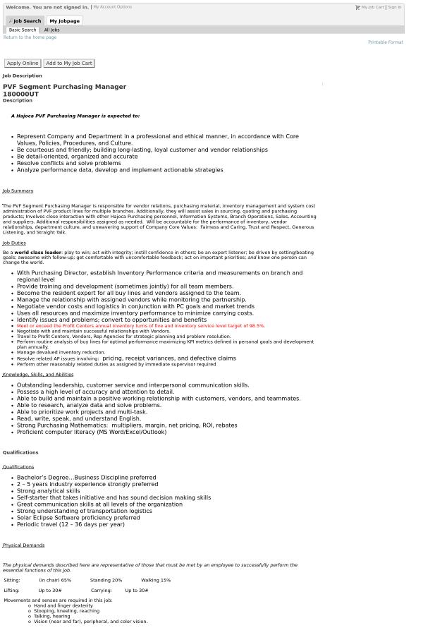Description. A Hajoca PVF Purchasing Manager ...