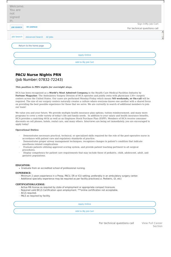 Pacu Nurse Nights Prn Job At Hca Holdings Inc In Denver Co