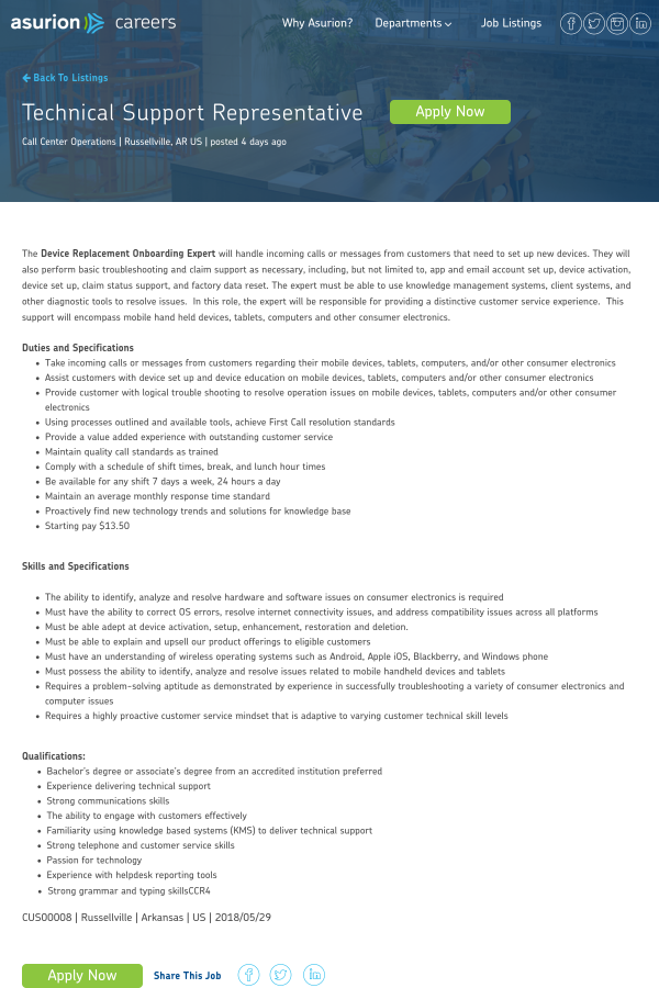 Technical Support Representative Job At Asurion In Russellville Ar