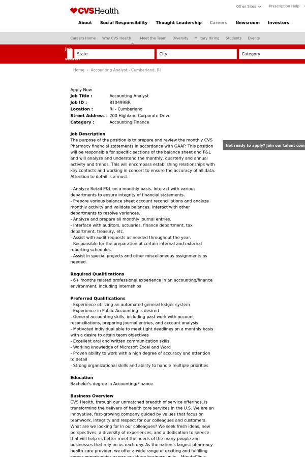 accounting analyst job at cvs health in cumberland ri 12786388