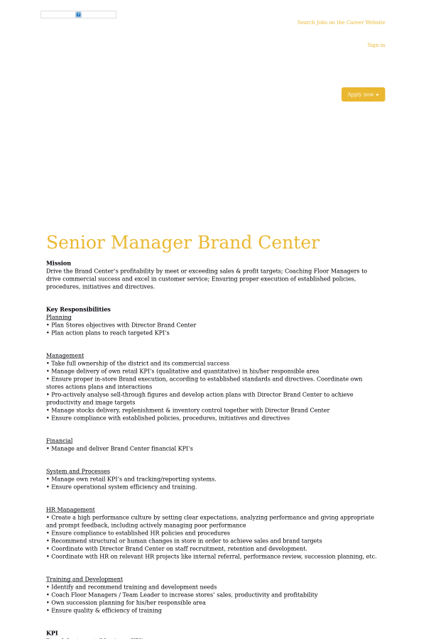Senior Manager Brand Center job at Adidas in Shanghai, China