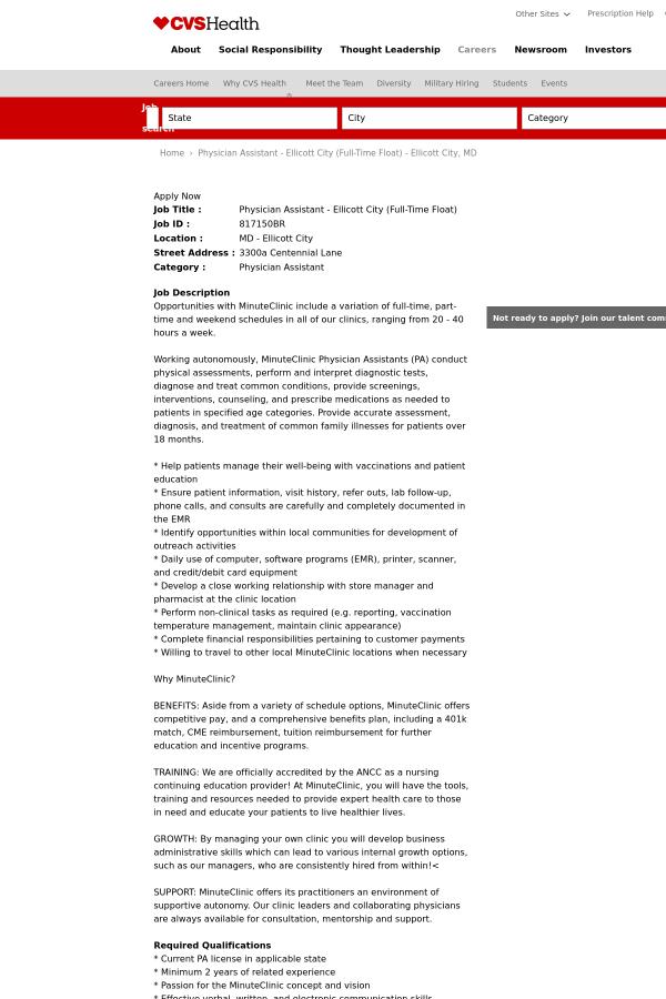 physician assistant ellicott city float job at cvs health in
