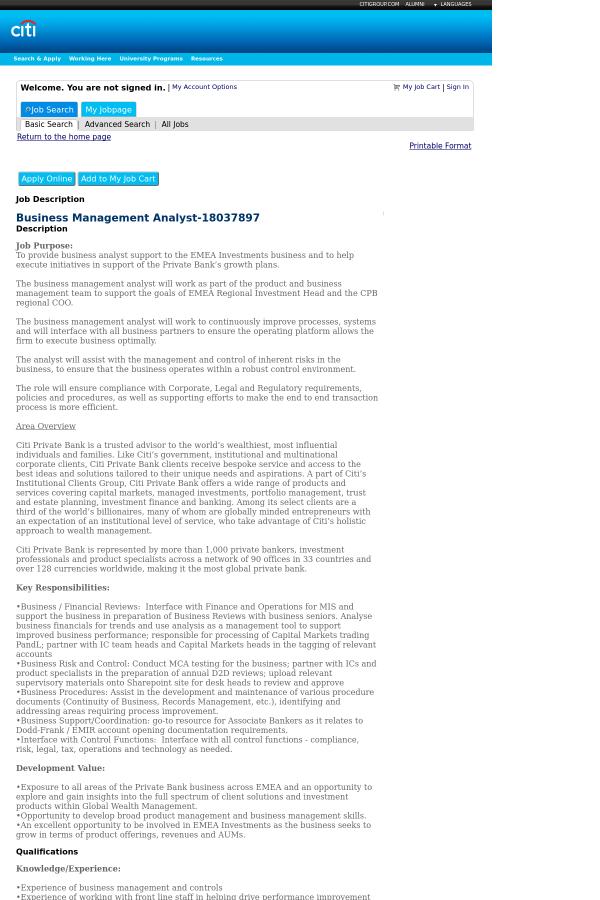 Business Management Analyst job at Citi in Belfast, United Kingdom ...