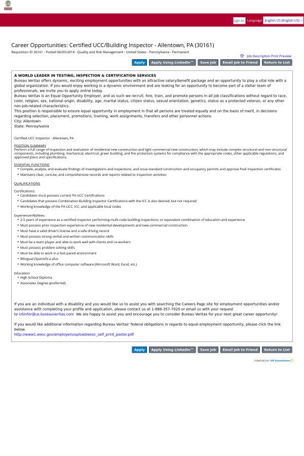 Certified Ucc Building Inspector Allentown Pa Job At Bureau
